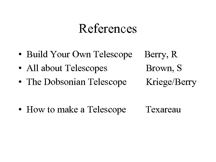 References • Build Your Own Telescope • All about Telescopes • The Dobsonian Telescope