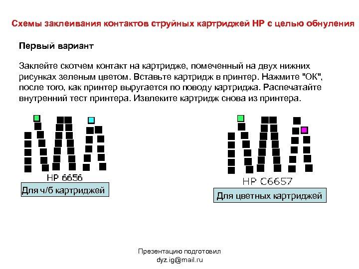 Схемы заклеивания контактов струйных картриджей HP с целью обнуления Первый вариант Заклейте скотчем контакт