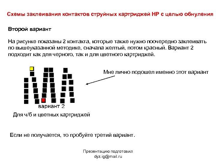 Схемы заклеивания контактов струйных картриджей HP с целью обнуления Второй вариант На рисунке показаны