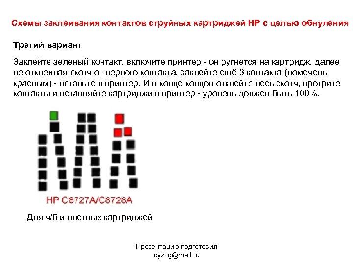 Схемы заклеивания контактов струйных картриджей HP с целью обнуления Третий вариант Заклейте зеленый контакт,