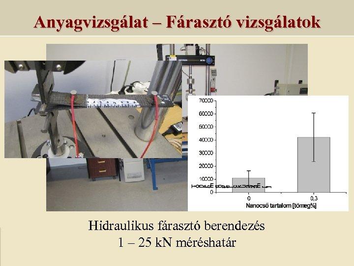 Anyagvizsgálat – Fárasztó vizsgálatok Hidraulikus fárasztó berendezés 1 – 25 k. N méréshatár