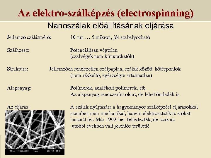 Az elektro-szálképzés (electrospinning) Nanoszálak előállításának eljárása Jellemző szálátmérő: 10 nm … 5 mikron, jól