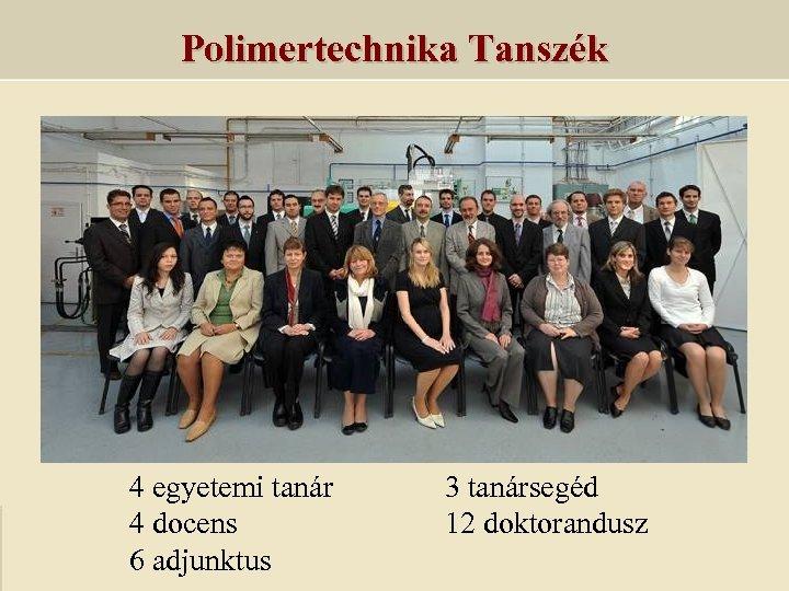 Polimertechnika Tanszék 4 egyetemi tanár 4 docens 6 adjunktus 3 tanársegéd 12 doktorandusz