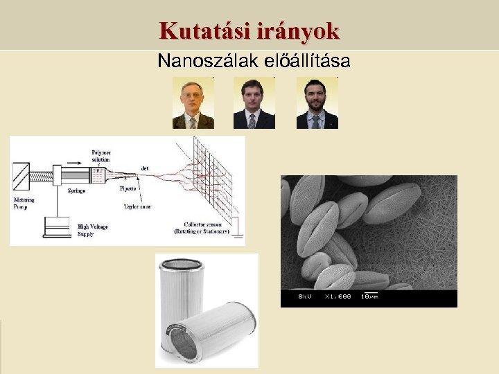 Kutatási irányok Nanoszálak előállítása
