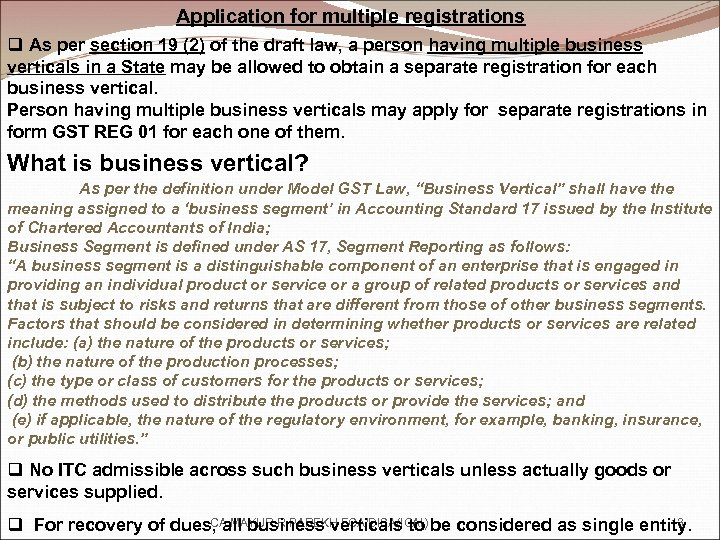 Application for multiple registrations q As per section 19 (2) of the draft law,