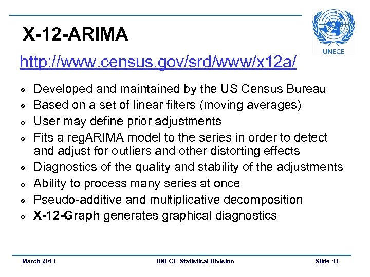 X-12 -ARIMA http: //www. census. gov/srd/www/x 12 a/ v v v v Developed and