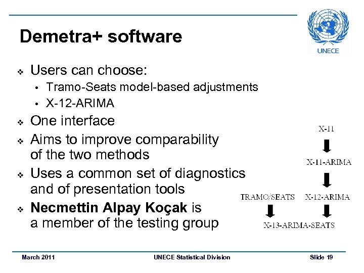 Demetra+ software v Users can choose: Tramo-Seats model-based adjustments • X-12 -ARIMA • v