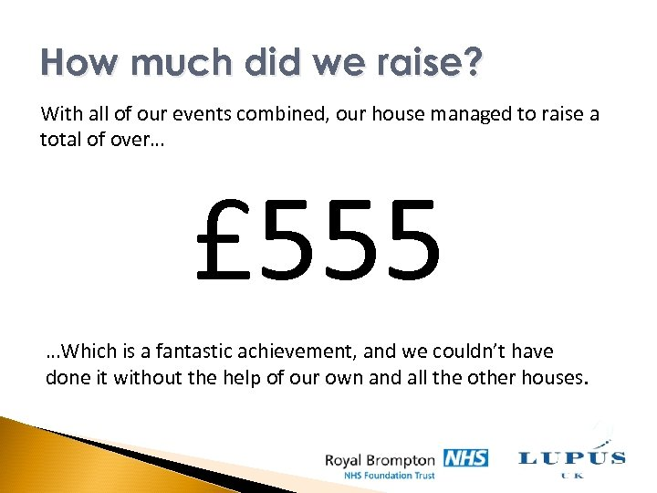 How much did we raise? With all of our events combined, our house managed