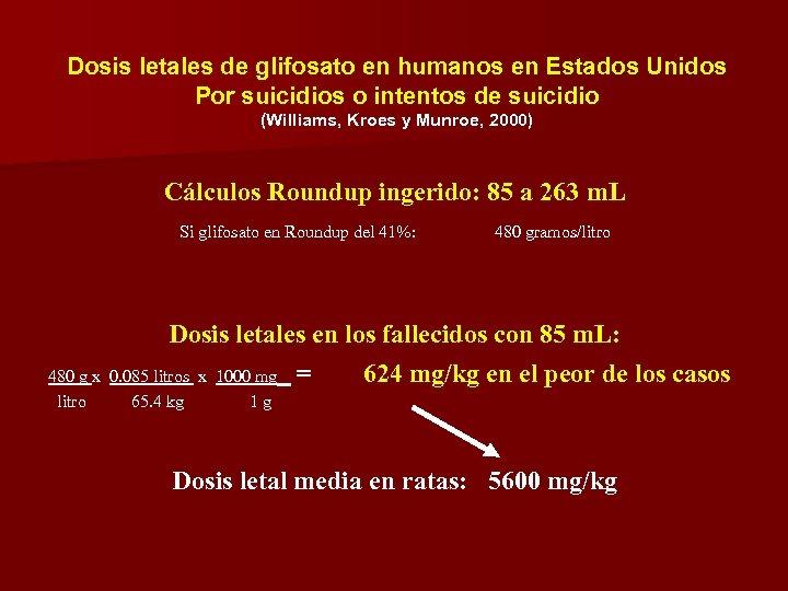 Dosis letales de glifosato en humanos en Estados Unidos Por suicidios o intentos de