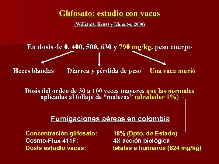 Glifosato: estudio con vacas (Williams, Kroes y Munroe, 2000) En dosis de 0, 400,