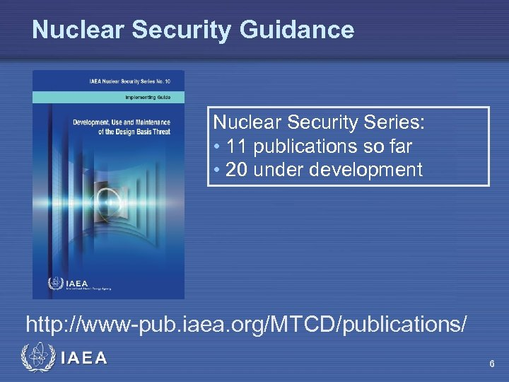 Nuclear Security Guidance Nuclear Security Series: • 11 publications so far • 20 under