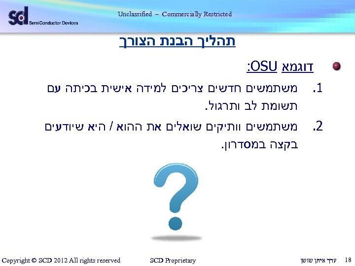 Unclassified – Commercially Restricted תהליך הבנת הצורך דוגמא : OSU 1. 2. 81