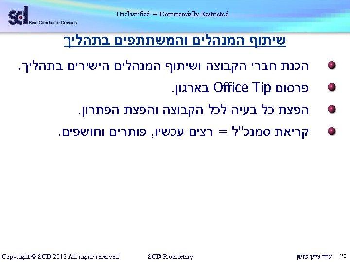 Unclassified – Commercially Restricted שיתוף המנהלים והמשתתפים בתהליך הכנת חברי הקבוצה ושיתוף המנהלים