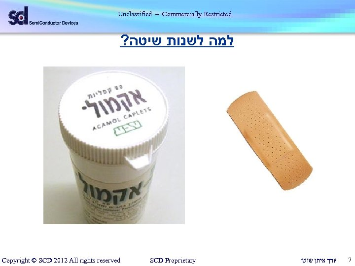 Unclassified – Commercially Restricted ? למה לשנות שיטה Copyright © SCD 2012 All rights