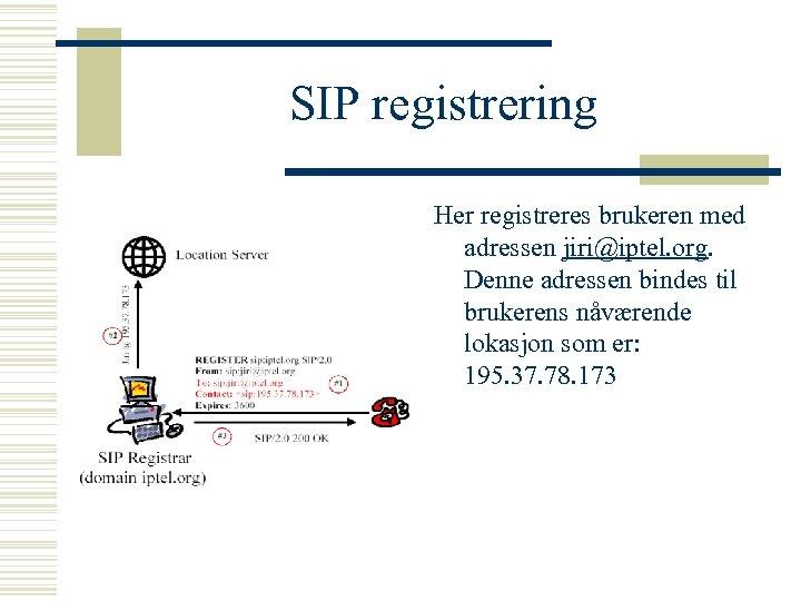 SIP registrering Her registreres brukeren med adressen jiri@iptel. org. Denne adressen bindes til brukerens