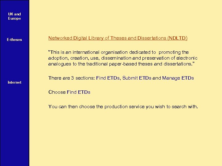 """UK and Europe E-theses Internet Networked Digital Library of Theses and Dissertations (NDLTD) """"This"""