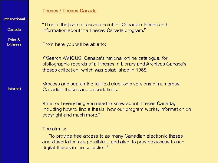"""Theses / Thèses Canada International Canada """"This is [the] central access point for Canadian"""