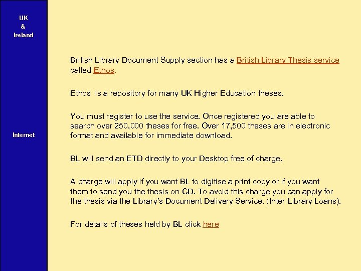 UK & Ireland British Library Document Supply section has a British Library Thesis service