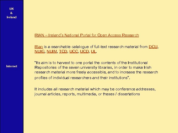 UK & Ireland RIAN – Ireland's National Portal for Open Access Research Rian is