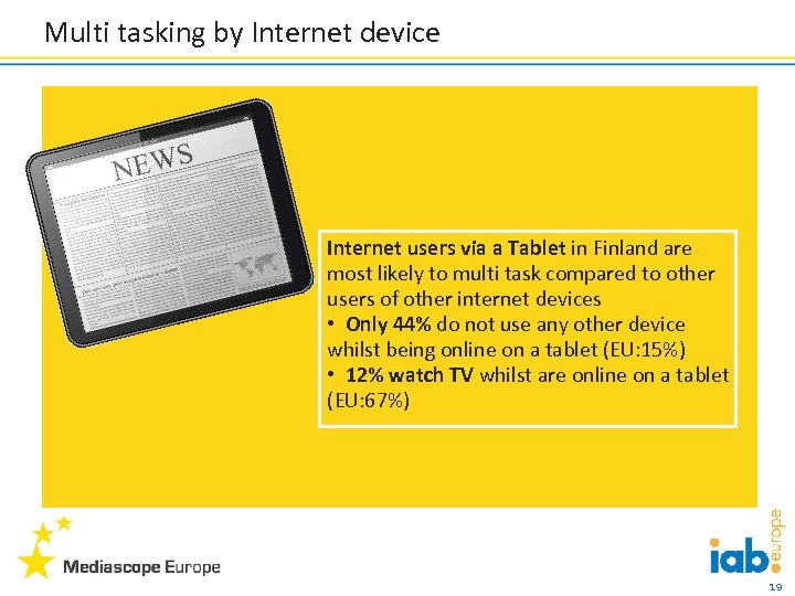 Multi tasking by Internet device Internet users via a Tablet in Finland are most