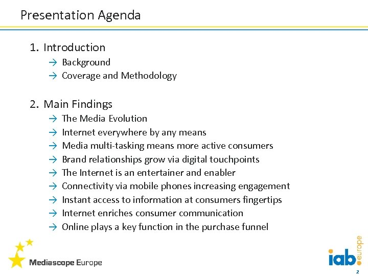 Presentation Agenda 1. Introduction → Background → Coverage and Methodology 2. Main Findings →