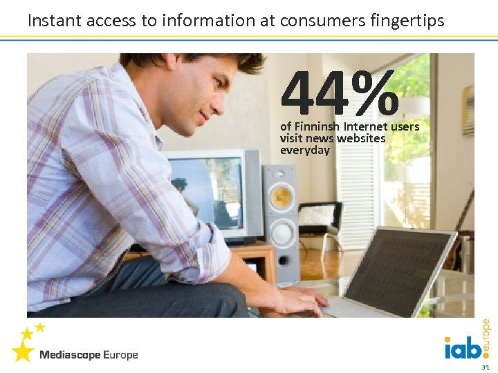 Instant access to information at consumers fingertips 44% of Finninsh Internet users visit news