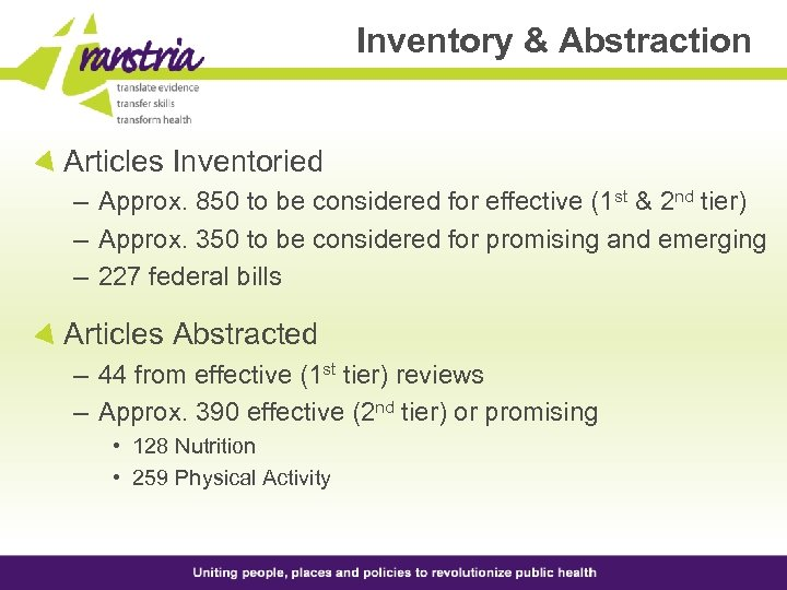 Inventory & Abstraction Articles Inventoried – Approx. 850 to be considered for effective (1