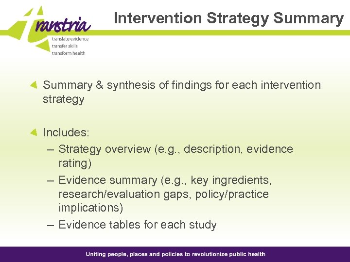Intervention Strategy Summary & synthesis of findings for each intervention strategy Includes: – Strategy