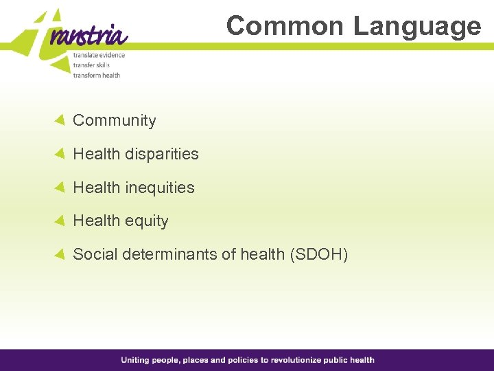Common Language Community Health disparities Health inequities Health equity Social determinants of health (SDOH)