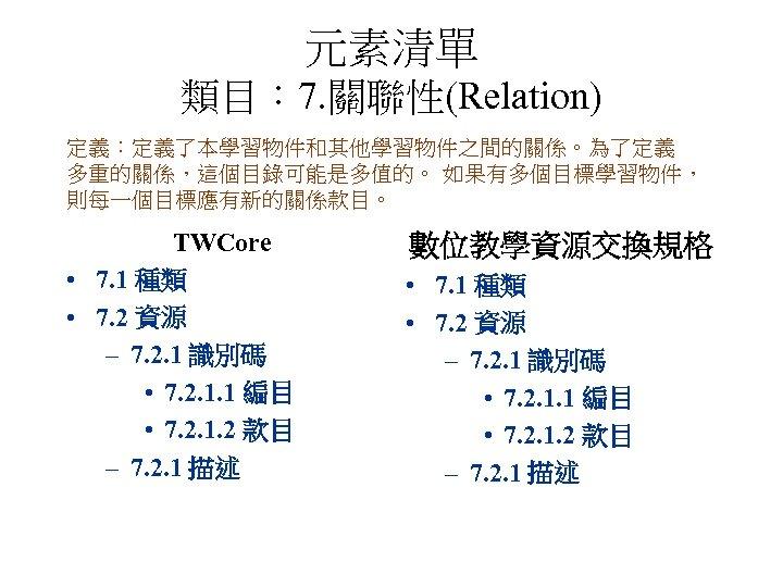 元素清單 類目: 7. 關聯性(Relation) 定義:定義了本學習物件和其他學習物件之間的關係。為了定義 多重的關係,這個目錄可能是多值的。 如果有多個目標學習物件, 則每一個目標應有新的關係款目。 TWCore • 7. 1 種類 •