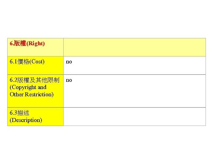 6. 版權(Right)   6. 1價格(Cost) no 6. 2版權及其他限制 (Copyright and Other Restriction) no 6.