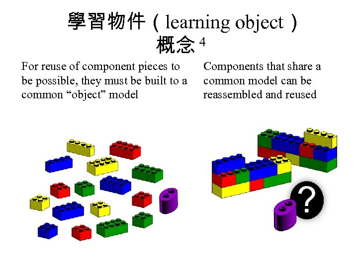 學習物件(learning object) 概念 4 For reuse of component pieces to be possible, they must