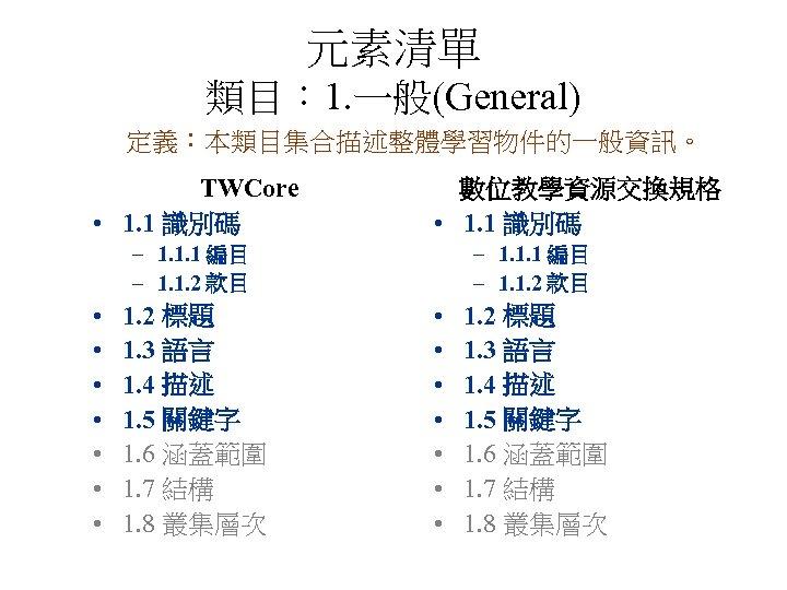 元素清單 類目: 1. 一般(General) 定義:本類目集合描述整體學習物件的一般資訊。 TWCore • 1. 1 識別碼 數位教學資源交換規格 • 1. 1