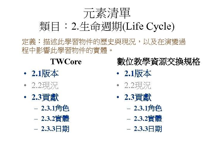 元素清單 類目: 2. 生命週期(Life Cycle) 定義:描述此學習物件的歷史與現況,以及在演變過 程中影響此學習物件的實體。 TWCore • 2. 1版本 • 2. 2現況