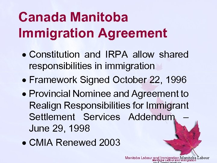 Canada Manitoba Immigration Agreement · Constitution and IRPA allow shared responsibilities in immigration ·