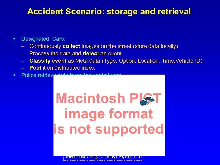 Accident Scenario: storage and retrieval • • Designated Cars: – Continuously collect images on