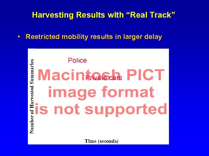 """Harvesting Results with """"Real Track"""" Number of Harvested Summaries • Restricted mobility results in"""