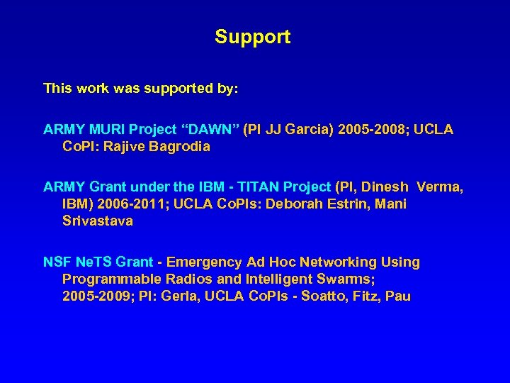 """Support This work was supported by: ARMY MURI Project """"DAWN"""" (PI JJ Garcia) 2005"""