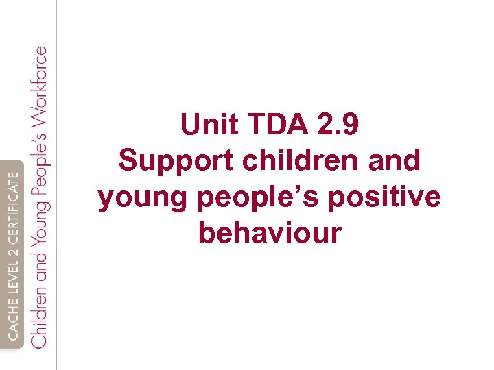 Unit TDA 2. 9 Support children and young people's positive behaviour