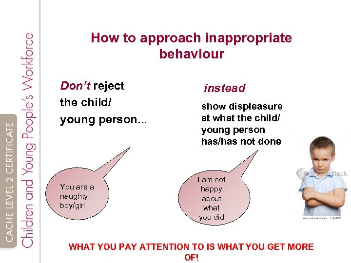 How to approach inappropriate behaviour Don't reject the child/ young person. . . You