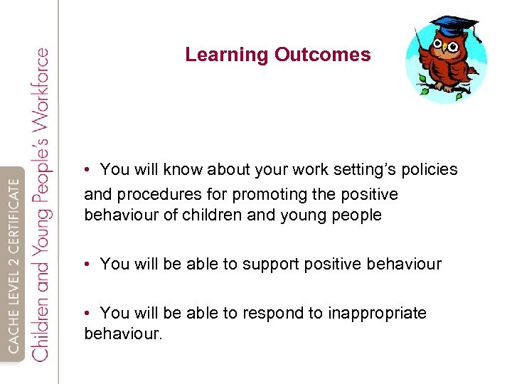 Learning Outcomes • You will know about your work setting's policies and procedures for