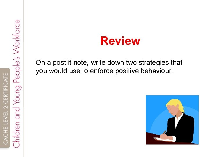 Review On a post it note, write down two strategies that you would use