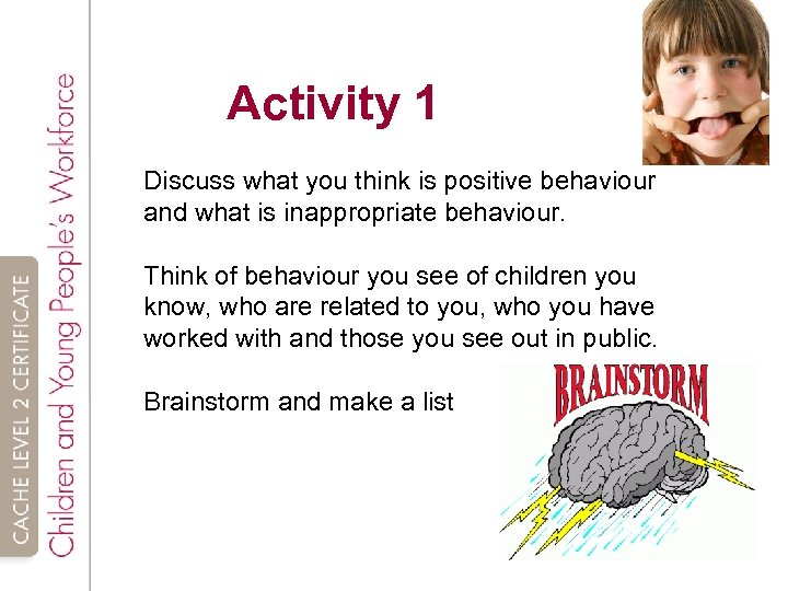Activity 1 Discuss what you think is positive behaviour and what is inappropriate behaviour.