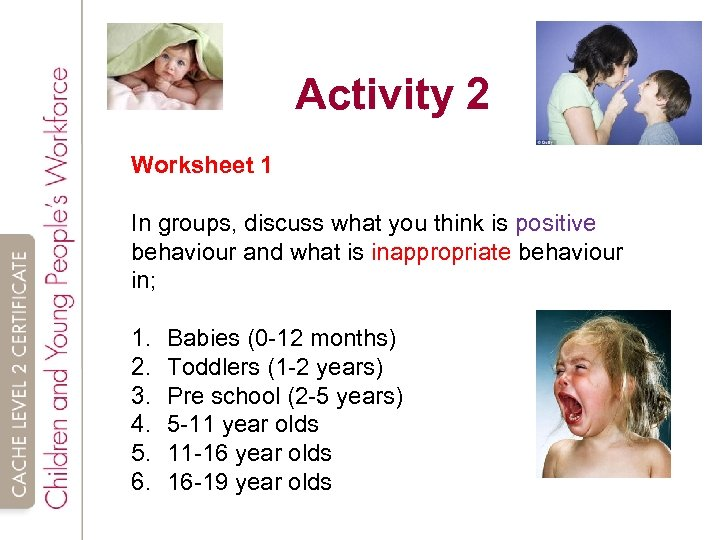 Activity 2 Worksheet 1 In groups, discuss what you think is positive behaviour and