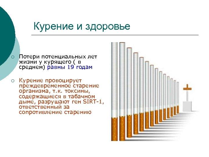 Курение и здоровье ¡ Потери потенциальных лет жизни у курящего ( в среднем) равны