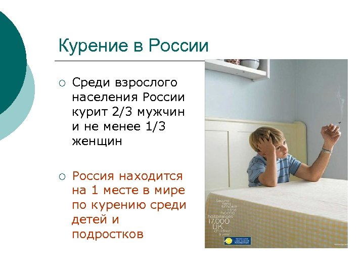 Курение в России ¡ Среди взрослого населения России курит 2/3 мужчин и не менее