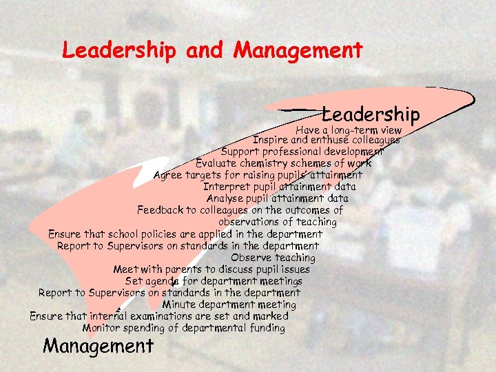 Leadership and Management Leadership Have a long-term view Inspire and enthuse colleagues Support professional