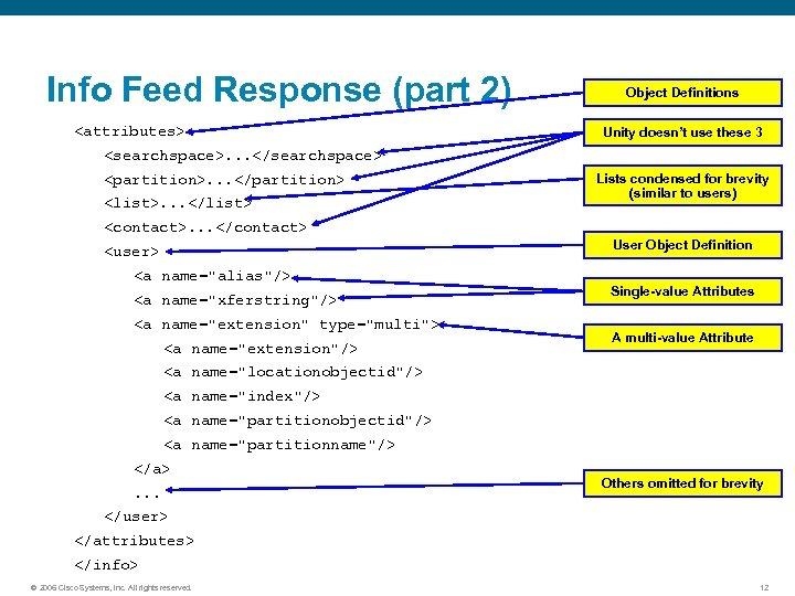 Info Feed Response (part 2) <attributes> Object Definitions Unity doesn't use these 3 <searchspace>.