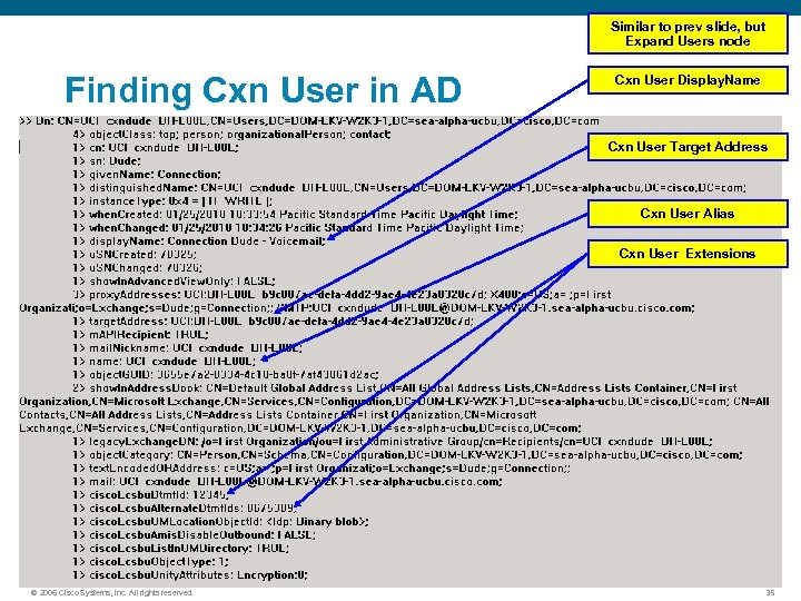 Similar to prev slide, but Expand Users node Finding Cxn User in AD Cxn