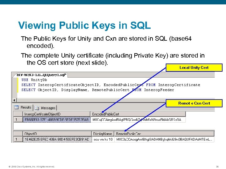 Viewing Public Keys in SQL The Public Keys for Unity and Cxn are stored